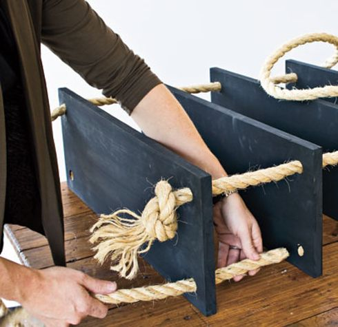 36 Utterly Charming Nautical DIYs Like this idea for my craft area, can add as many pieces of wood that I want to save space....maybe not as thick of rope though.