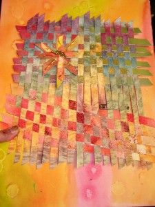 LOVE this idea for a journal page.  Am going to cut up underlying papers and do this!  Some good ideas for paper weaving mixed media here.