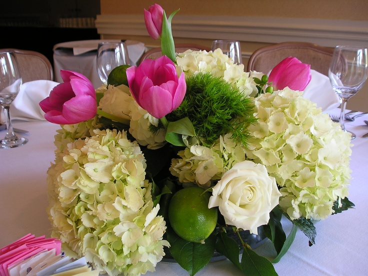 Tulips hydrangeas and roses with lime wedding