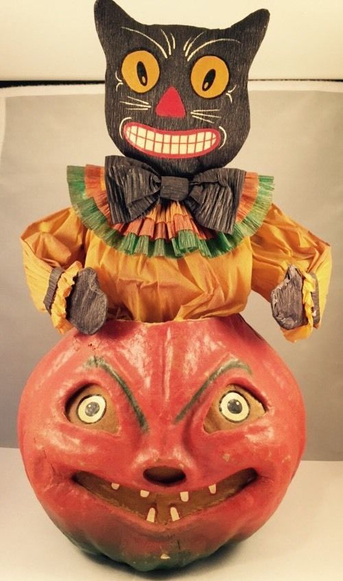 large vintage halloween paper mache pulp jack o lantern black cat decoration