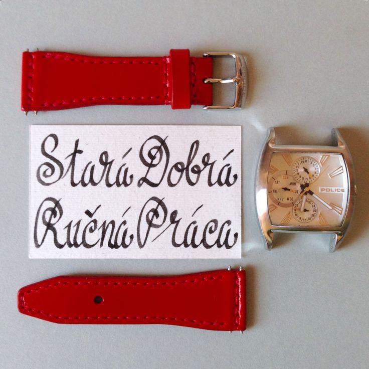Handmade leather a watch strap by Brano Klocan LEATHERCRAFT  Ručne šitý kožený remienok na hodinky