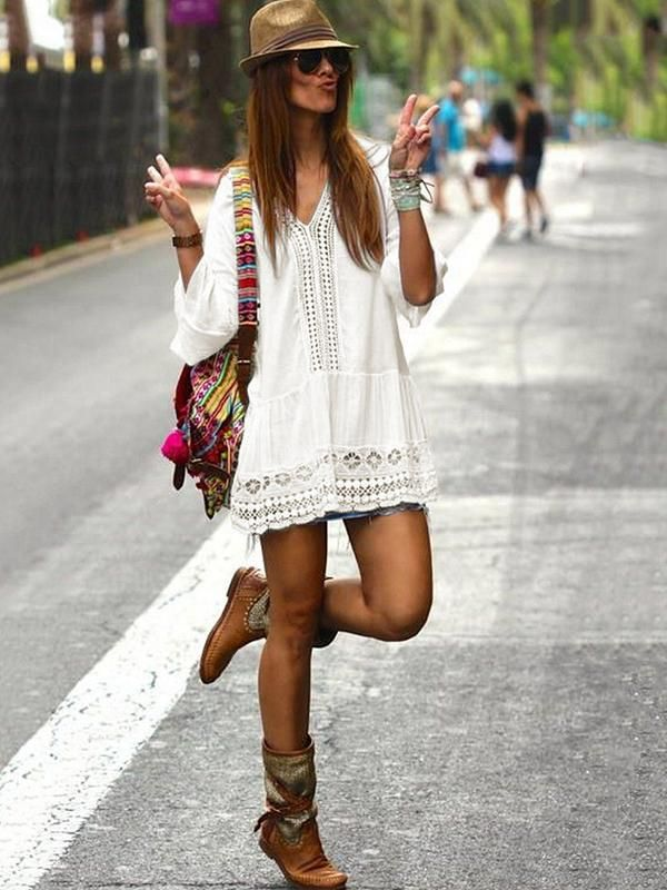 White Lace Hollow Split-joint Mini Dress