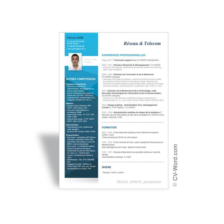 Exemple de CV ingenieur telecoms et reseaux en 2020 | Cv ...