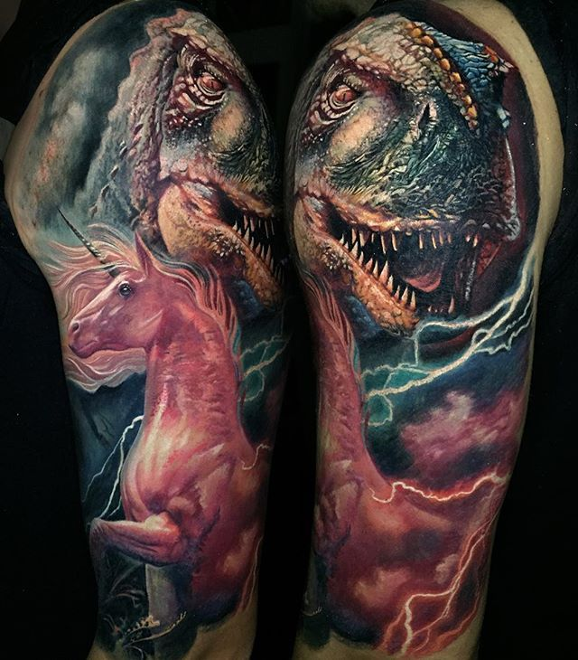 """Photo of this #daughterandson related piece #pinkunicorn #trex  My """"Color tattoo seminar"""" training movie will be available again on flash drive from tomorrow 8am central European time to 05. December on the :  www.boristattoo.com"""