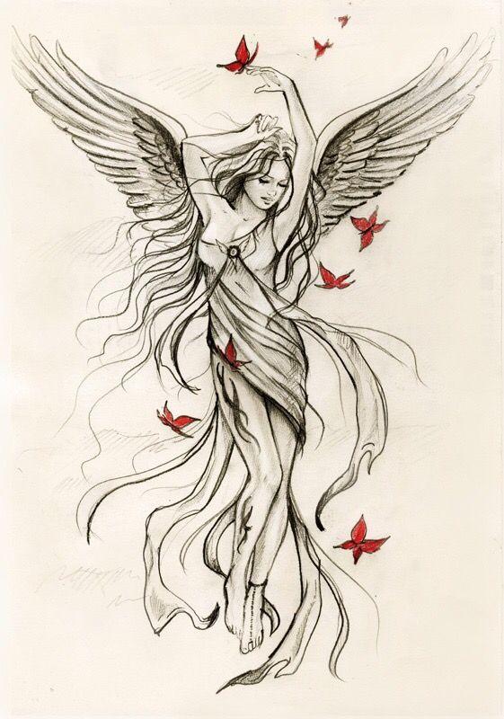 Guardian Angel Tattoos For Women | angel tattoo designs1 Guardian Angel Design tattoo design, art, flash ... | My Style | Pinterest | Tattoo and Tatting