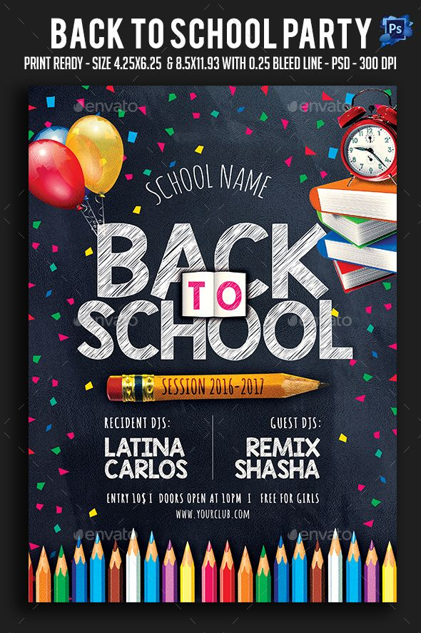 Back To School Party Flyer Template PSD