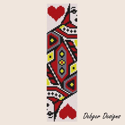 Bead Pattern Loom Bracelet Cuff Queen Of Hearts Bead