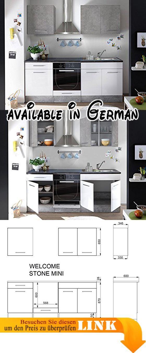 """B0742PBF6B : Küche """"Mini"""" Küchenblock Küchenzeile Komplettküche 210cm Singleküche Miniküche Kleinküche weiß grau beton. Küche """"Mini"""" Küchenblock Küchenzeile 210cm in grau Beton-Look und weiß matt.. Maße: B x H x T; 210 x 206 x 60 cm; Arbeitshöhe ca. 90 cm; Sockelhöhe ca. 15 cm; ;. Korpus: Beton grau Front: Mix Beton grau - weiß matt; Griffe: Kunststoffgriffe; ; Arbeitsplatte: 28 mm Stärke Farbe: stone dark - die Oberfläche ist leicht zu pflegen und reinigen;"""