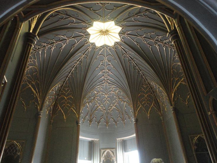 Strawberry Hill House interior. The building is the Gothic Revival villa that was built in Twickenham, London by Horace Walpole from 1749.