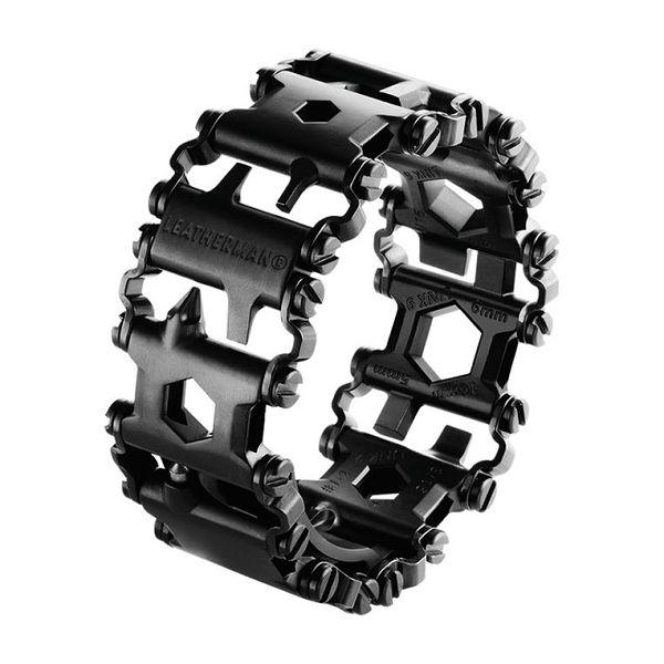 De Leatherman Tread Black (zwart) armband is een zeer fraaie multitool voor om je pols. 25 gereedschappen in een praktisch sieraad. Matzwarte coating.