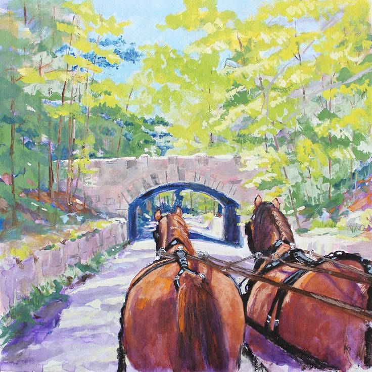 Seal Harbor Bridge - Acadia: contemporary, impressionism, landscape casein painting measuring 12 x 12 inches by artist Kathi Peters, from 2014