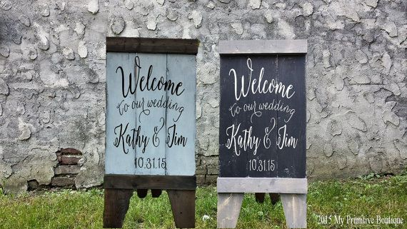 WELCOME WEDDING SIGN, Custom Wedding Sign, A Frame Sign, Aged Wood, Sandwich Board, Business Sign, Rustic Sign, Self Standing Sign