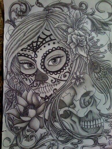 skull tattoo design sugar skull tattoos and skull tattoos on pinterest. Black Bedroom Furniture Sets. Home Design Ideas