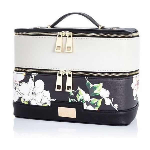 River Island Black floral print vanity case (480 ARS) ❤ liked on Polyvore featuring beauty products, beauty accessories, bags & cases, bags, accessories, beauty, makeup, luggage and river island