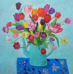 Andrea Letterie, Tulpen in blauw, Gemengde techniek op paneel, 80x80 cm, €.1500,-