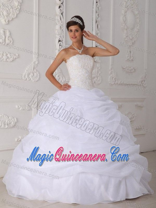 White Strapless Organza Quinceanera Gown with Ruffles in Ballycastle