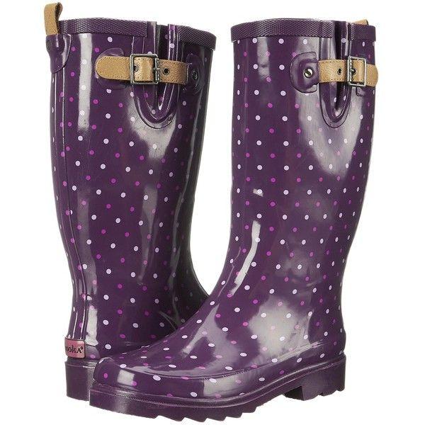 Chooka Classic Dot Rain Boot Women's Rain Boots, Purple (61 BGN) ❤ liked on Polyvore featuring shoes, boots, mid-calf boots, purple, wellies boots, slip-on shoes, rubber rain boots, slip on boots y wellington boots
