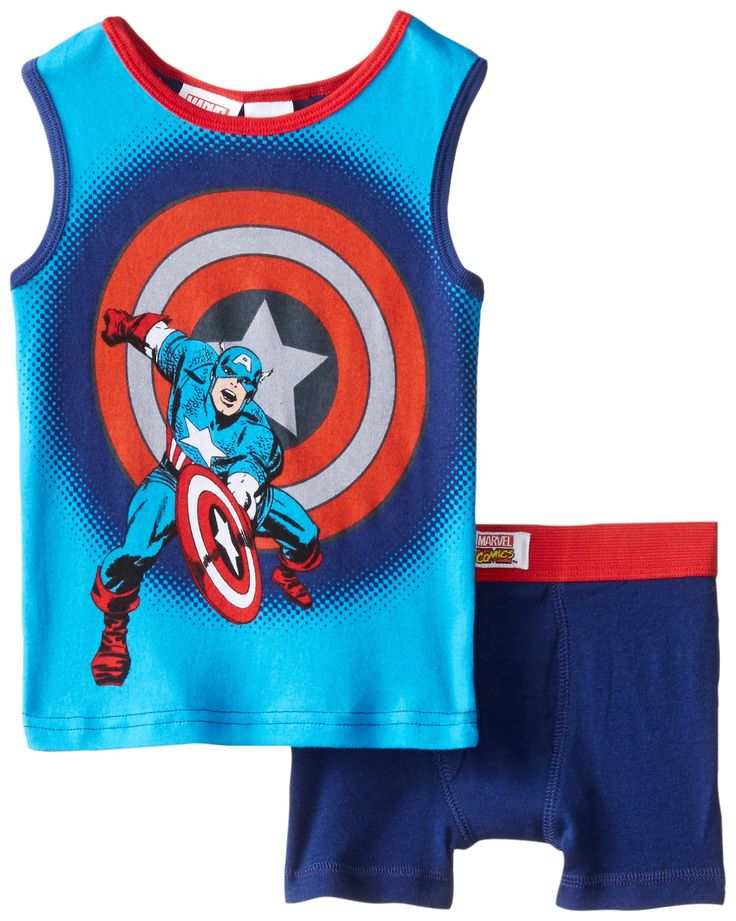 Marvel Little Boys' Captain America Shield 2-Piece Tank and Brief Set, Multi, 4. Tank, short bottom. Flame resistant. Extra soft. Easy to care.