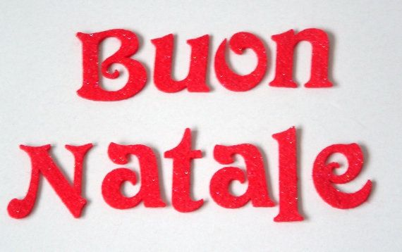 Merry christmas in italian, in 5 cm tall victorian font if you would like any other word or colour please convo me.