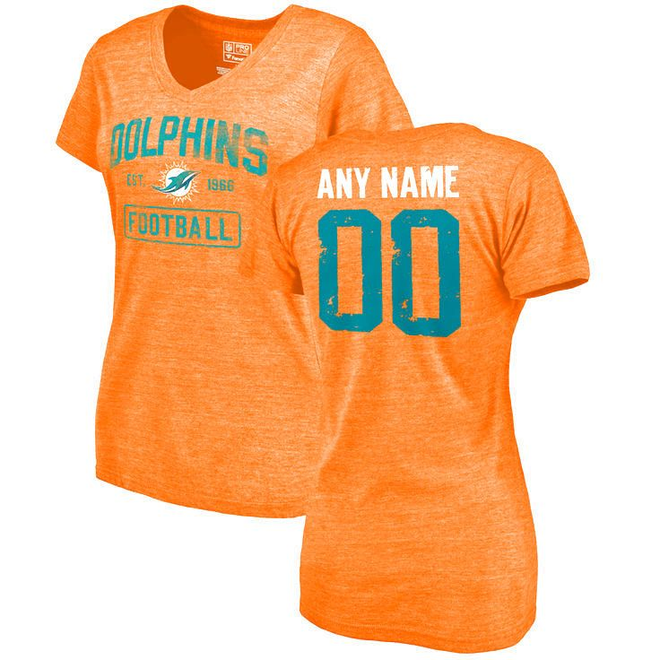 Women's Orange Miami Dolphins Distressed Custom Name & Number Tri-Blend V-Neck T-Shirt - $42.99