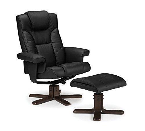 Cosy Faux Leather Swivel Recliner Chair - High Padded Back With Head Cushion And Armrests - Matching Footstool Included