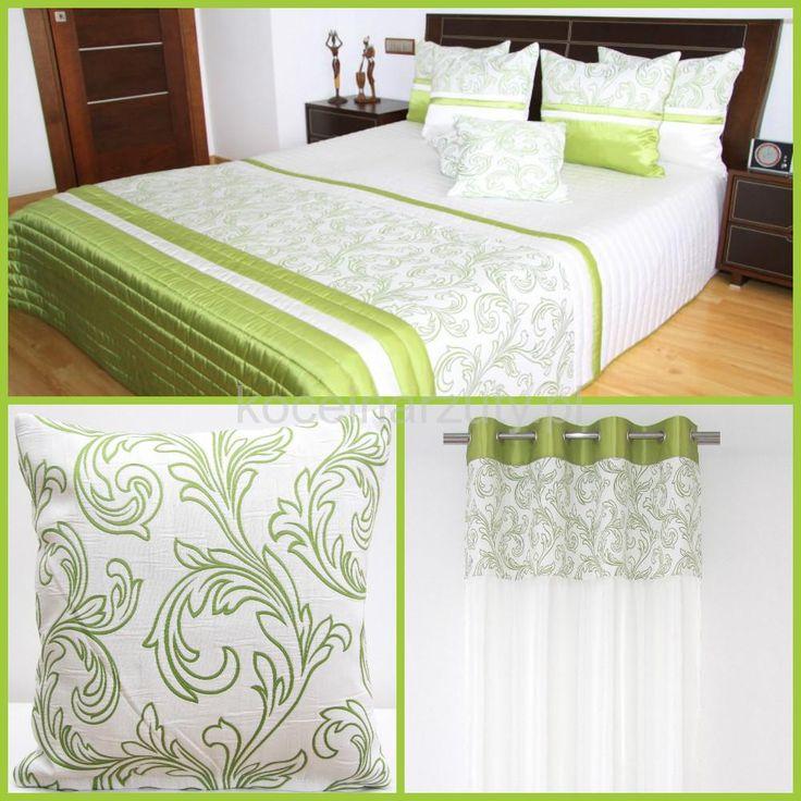 Biały komplet do sypialni z zielonym ornamentem