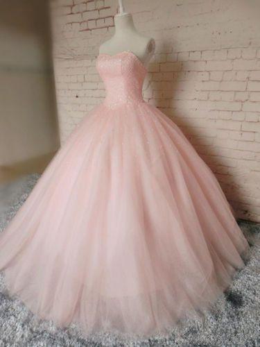 Pink Ball Gown Beading Prom Dress,Long Prom Dresses,Charming Prom Dresses,Evening Dress, Prom Gowns, Formal Women Dress,prom dress,F278