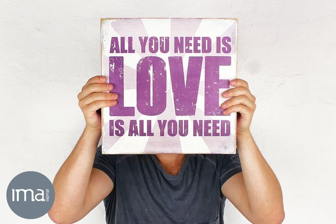 Wood Block Mount Art 'All You Need is Love' – 30 x 30cm by Ima Studio on hellopretty.co.za