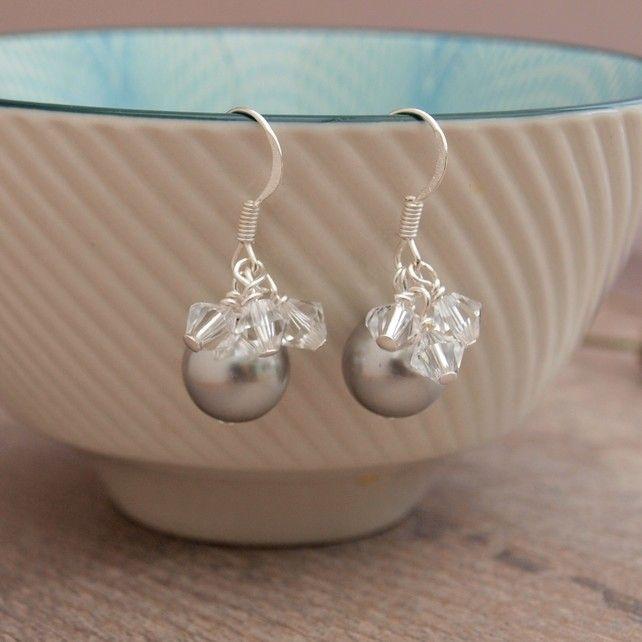 Silver Pearl Earrings - Grey Pearl And Crystal Wedding Bridesmaid Earrings £16.00