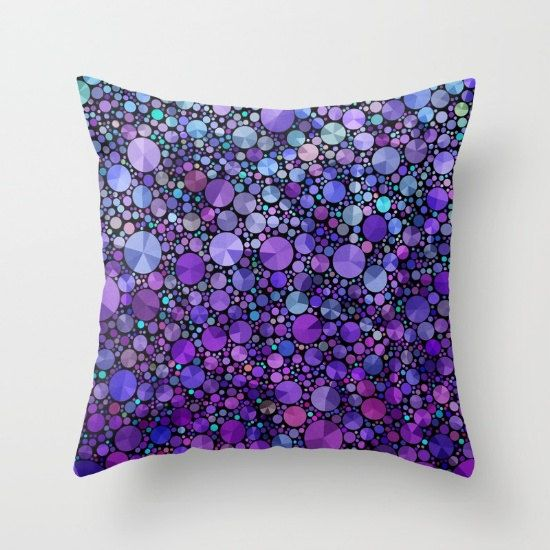 Purple Throw Pillow, teal  and purple abstract , colorful, modern, rectangular, jewel tones, home decor, pillows, cushions, throw pillow