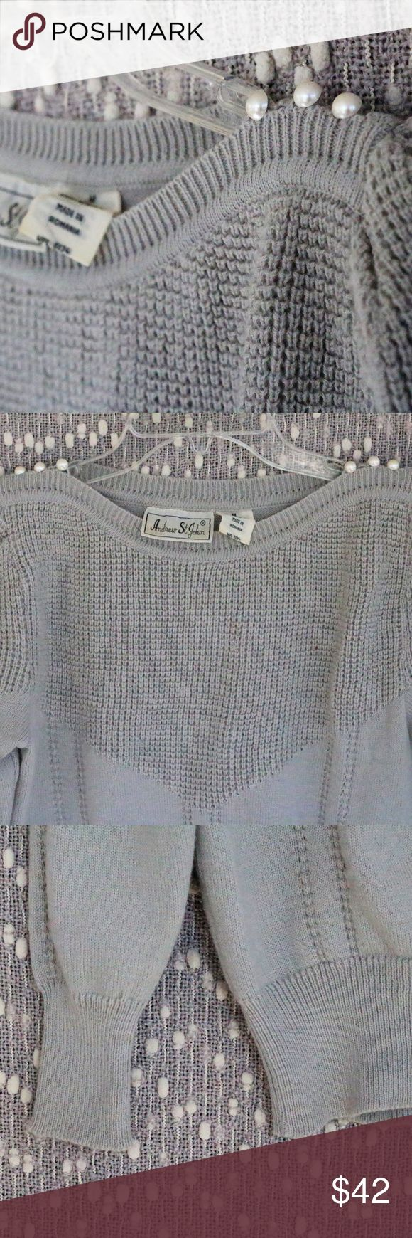 Woman's Vintage 1970's Sweater Size Medium *Brand: Andrew St. John *Size: Woman's Vintage Medium / Modern Size Small *Color: Light Gray *Pearl Buttons on Shoulders  This item is in PRISTINE condition, meaning NO damage of ANY kind. Item is ORIGINAL and has NOT been altered in ANY way.   Questions or comments? Send them my way! I am more than happy to chat with you. Andrew St. John Sweaters