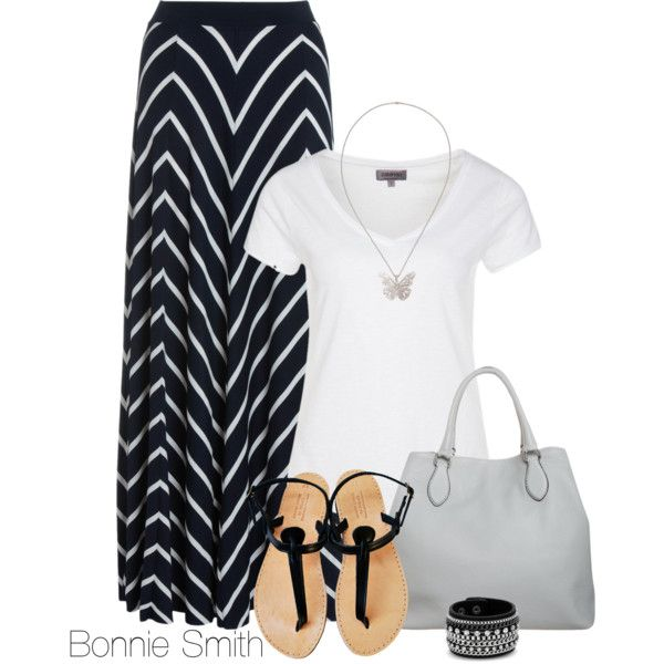 """black and white maxi skirt"" by bonnaroosky on Polyvore"