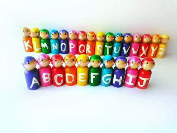 gereed voor verzending!! ABC alfabet houten peg poppen, unieke educatieve