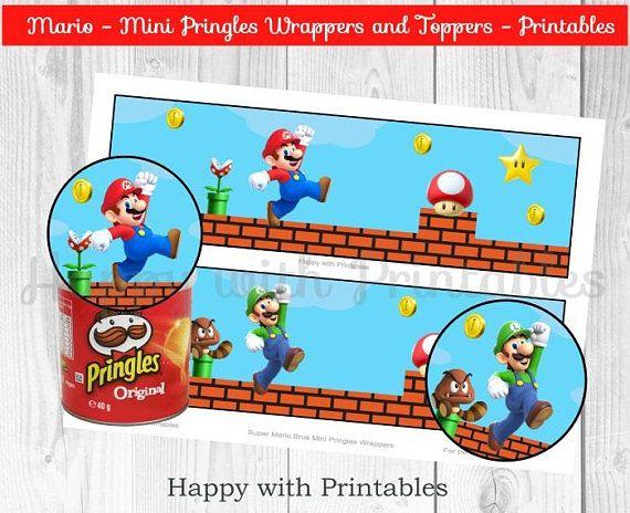 Instant Download Super Mario Bros Mini Pringles Wrappers And Topper Super Mario Bros Birthday Party Mario Bros Birthday Party Ideas Mario Bros Birthday