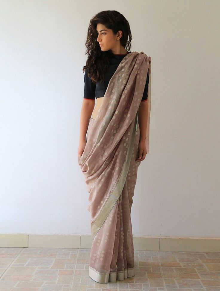 Buy Earthy Gold Silver Lata Chanderi & Zari Saree By Raw Mango Online at Jaypore.com