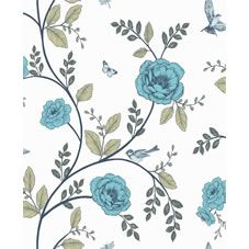 Wilko Rosanna Floral Teal/White Wpaper