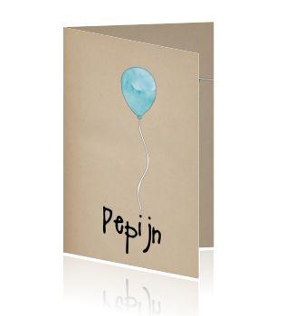 Vrolijk illustratie watercolour geboortekaartje ballon stoer jongen kraft