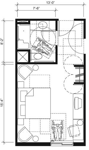 This drawing shows an accessible 13-foot wide guest room with features that comply with the 2010 Standards. Features include a standard roll...
