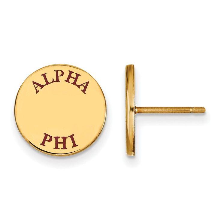 Sterling Silver w/GP LogoArt Alpha Phi Enameled Post Earringss