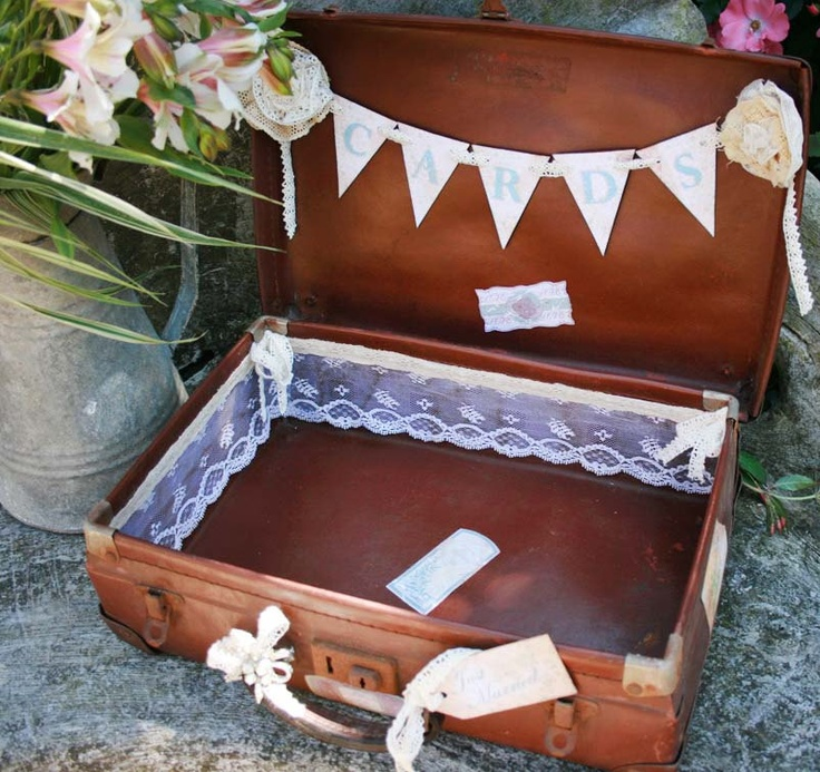 Rustic Wedding Card case - Vintage Suitcase card holder- shabby chic style
