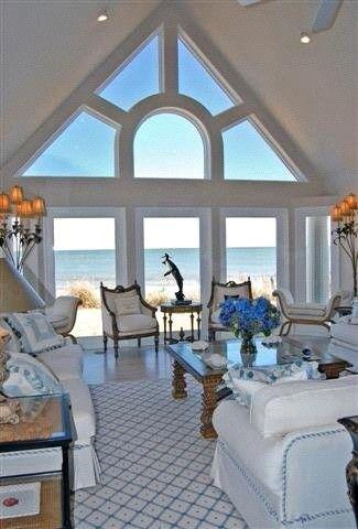 Hampton's beach house living room