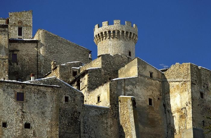 Hotel in Italy medieval stone castle with small windows and doors