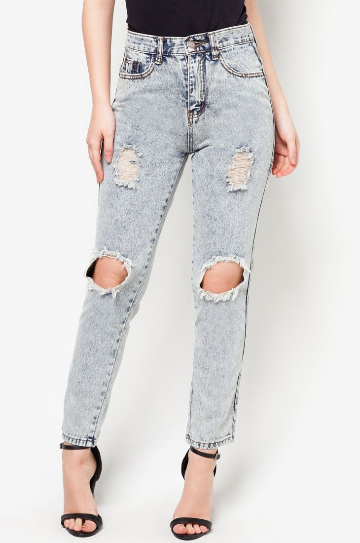Show up your rebellious side with this cut out shredded jeans by something borrowed, jeans with straight cut, with ripped detail. Perfect for any casual outfit. Grey denim with button and zipper, front pocket, belt loops, straight cut. http://zocko.it/LENsz