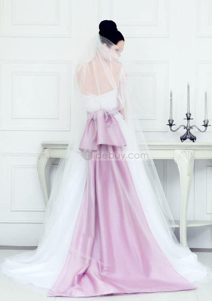 エレガント恋人ラインサッシュコートトレインウェディングドレス 19064