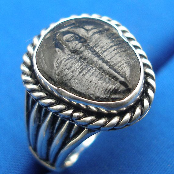 Trilobite Fossil Ring, Hand Crafted Recycled Sterling Silver, heavy cast band