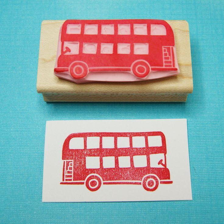 London Bus Stamp  Hand Carved Rubber Stamp by skullandcrossbuns, £7.00