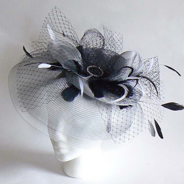 Silver cocktail hat - mother of the bride silver fascinator - silver and black wedding hat by alicehartcouture on Etsy https://www.etsy.com/listing/198309691/silver-cocktail-hat-mother-of-the-bride