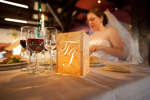 Wedding Table Numbers with Illuminated Numbers and Monogram: DIY Wedding Reception Ideas