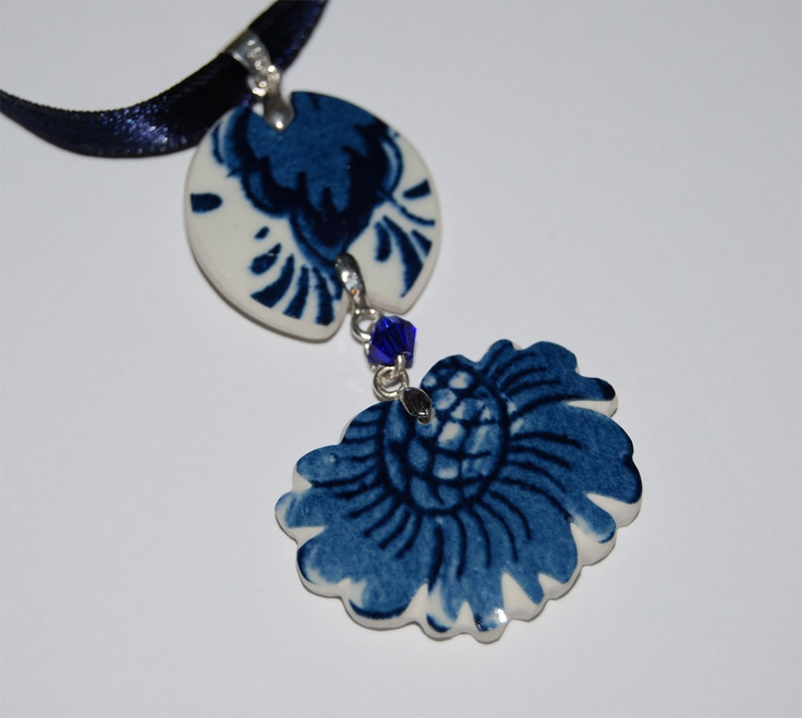 """blue flowers"" pendant  recycle of pieces of antique vase from Delft,  save as jewellry for the future"