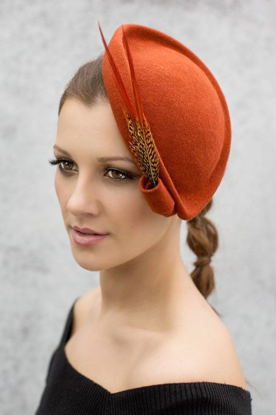 Cocktail Hat with Pheasant Feathers Wool Felt by MaggieMowbrayHats